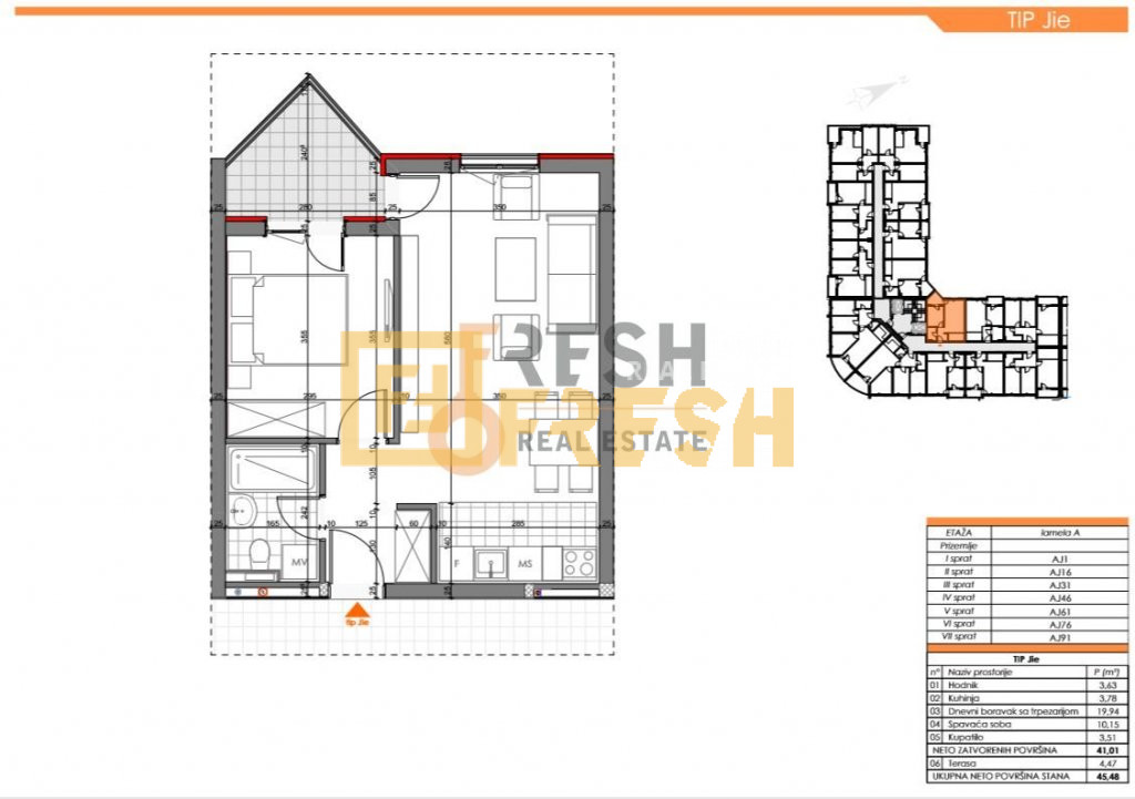 Jednosoban stan, 47m2, Zabjelo, Prodaja - 12