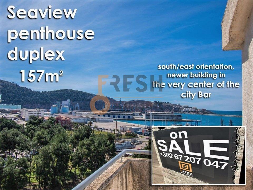 Penthaus duplex s pogledom na more, 157m2, Centar, Bar, Prodaja - 1