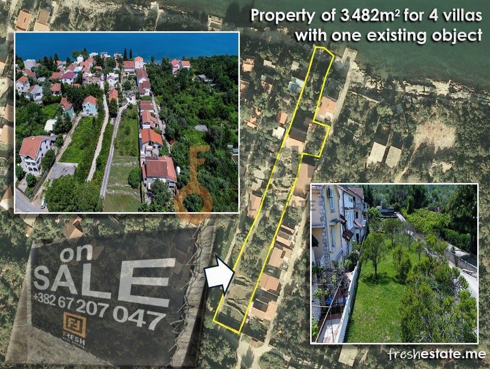 Krašići, zemljište za 4 vile i kuća na obali, Prodaja - 4