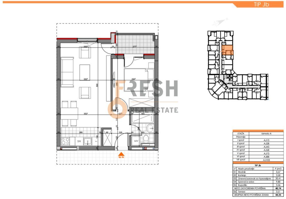 Jednosoban stan, 44.25m2, Zabjelo, Prodaja - 6