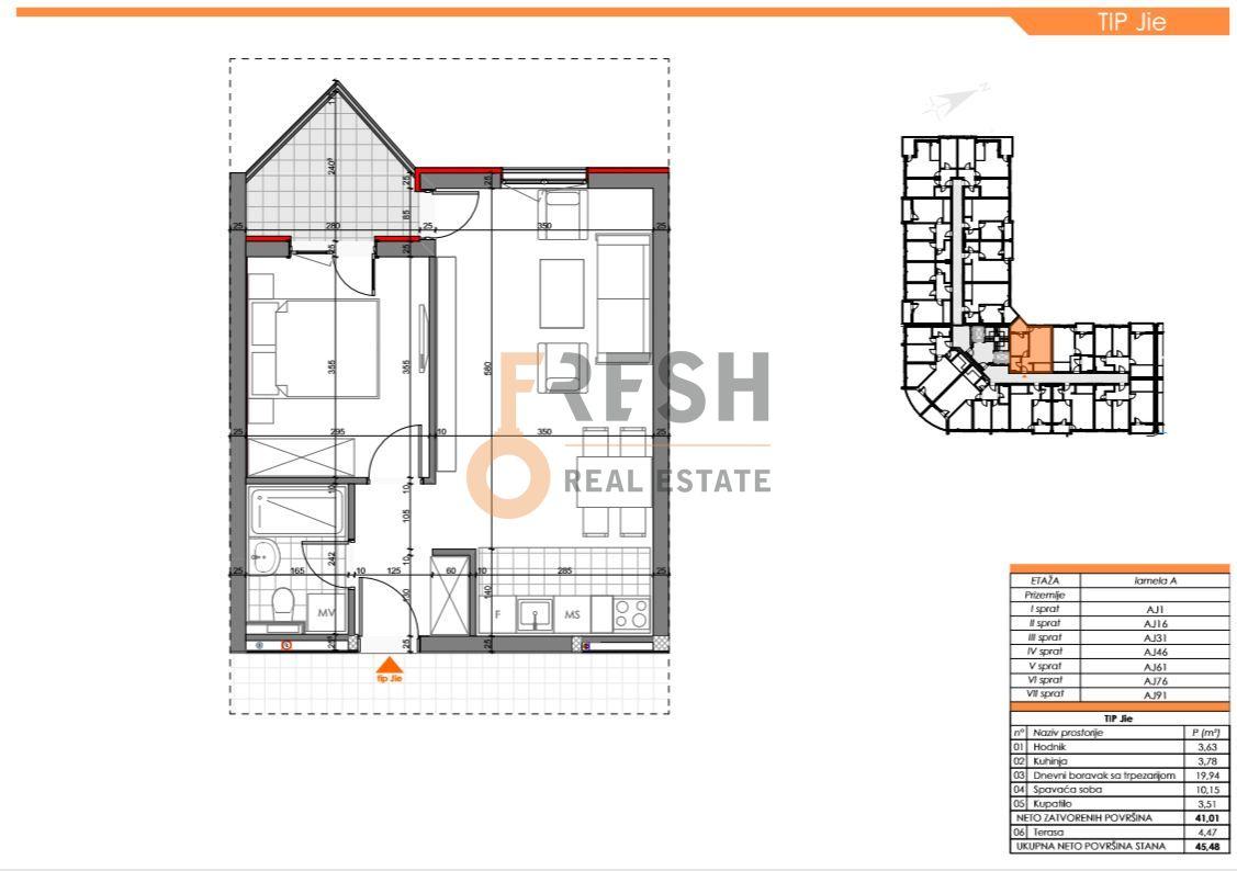 Jednosoban stan, 45.48m2, Zabjelo, Prodaja - 6