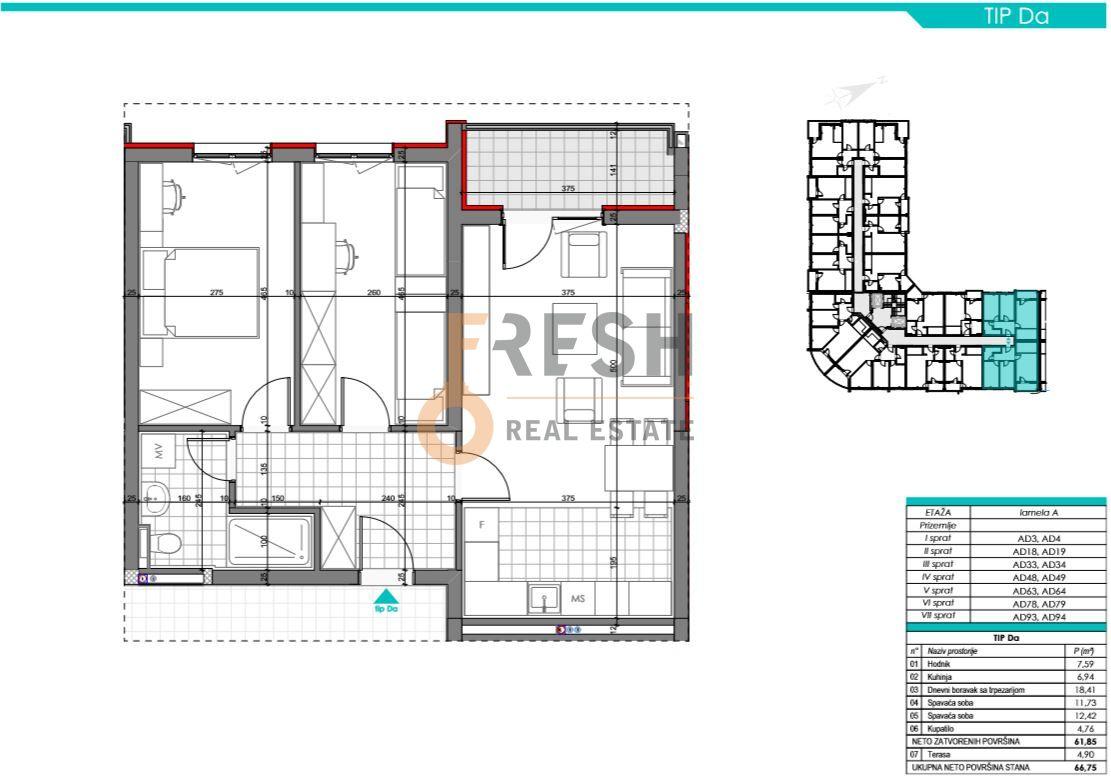 Dvosoban stan, 66.75m2, Zabjelo, Prodaja - 6