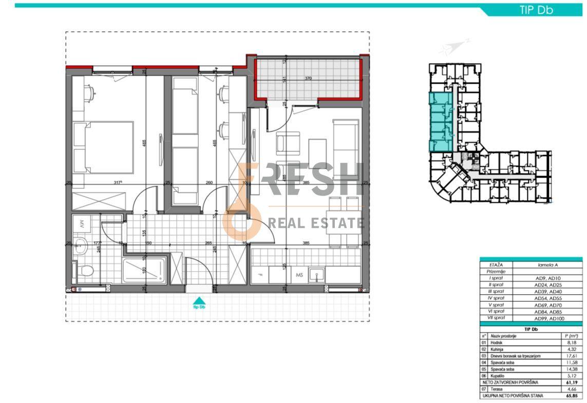 Dvosoban stan, 65.85m2, Zabjelo, Prodaja - 6