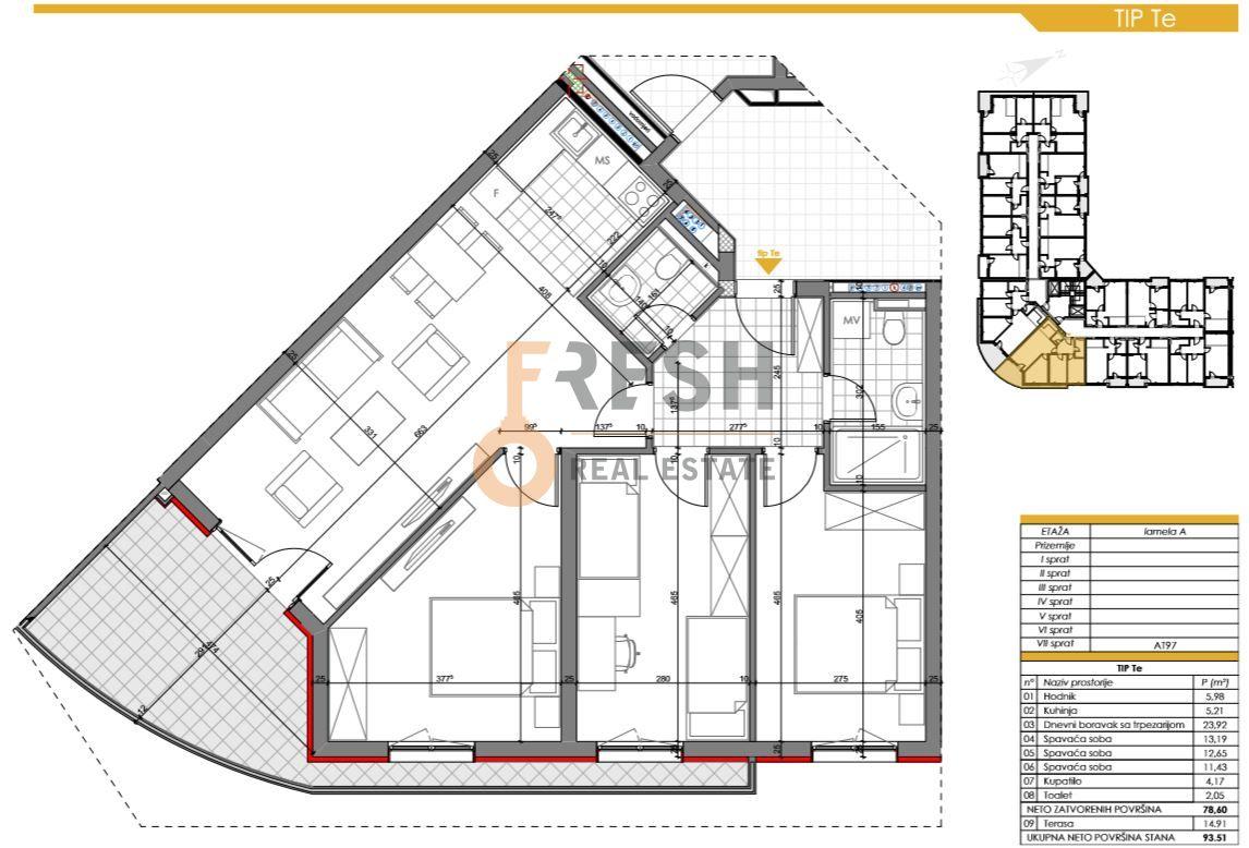 Trosoban stan, 93.51m2, Zabjelo, Prodaja - 6