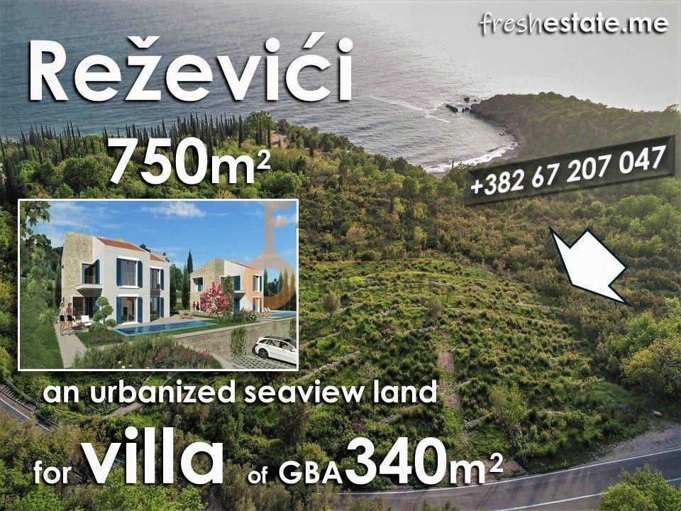 Reževići, vrhunski plac za vilu, pogled na more, ispod cijene ! - 1
