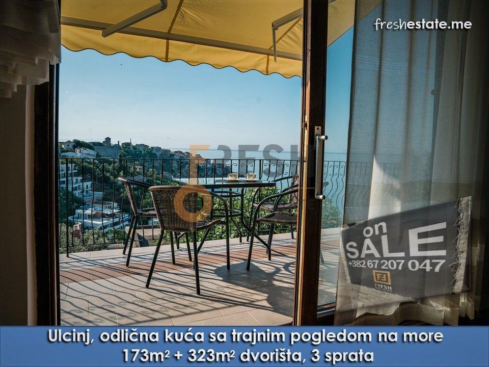 Namještena kuća 173m2 na tri etaže, trajni pogled na more, Ulcinj - 1