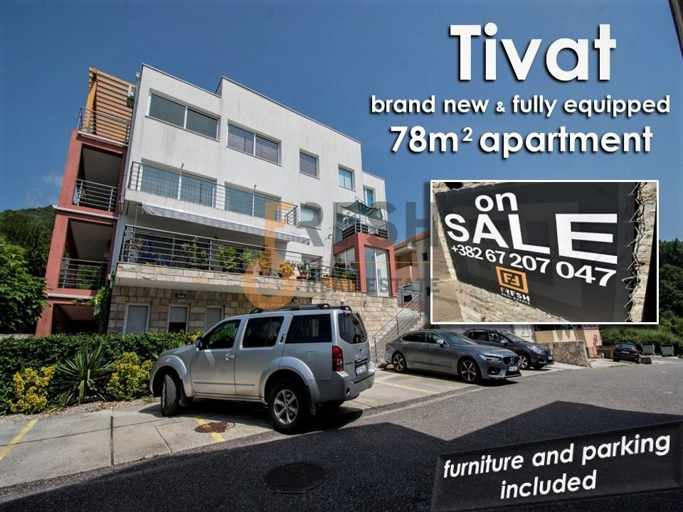 Kompletno opremljen nov stan 78m2, sa parking mjestom, Tivat - 1