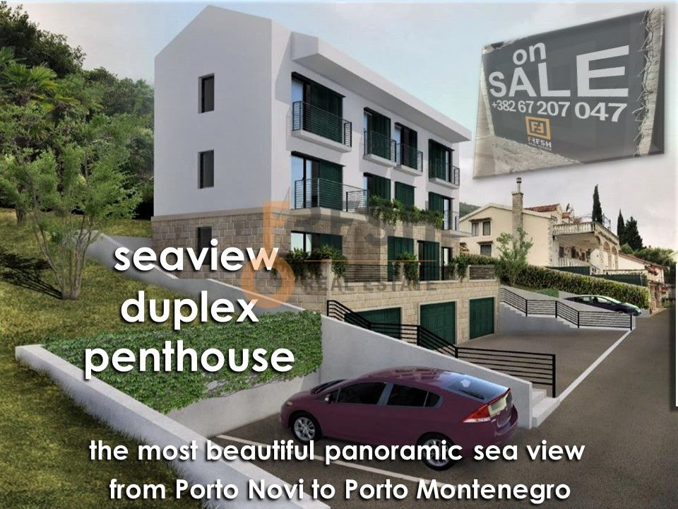 Duplex, penthouse, 64m2, Tivat, Krašići, pogled na more - 1