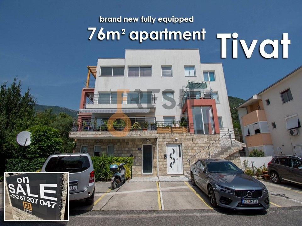 Kompletno opremljen nov stan 76m2, 1. sprat, sa parking mjestom, Tivat - 1