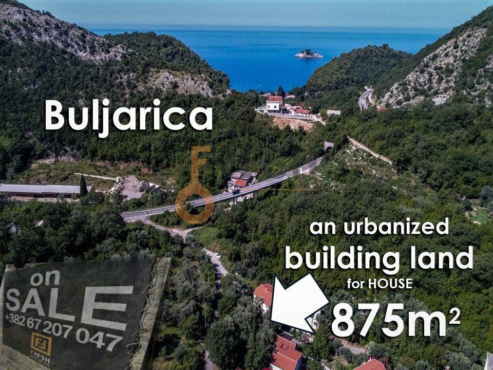 Urbanizovani plac 875m2 za vilu na 3 nivoa   okruženu maslinama, Buljarica, opština Budva - 1