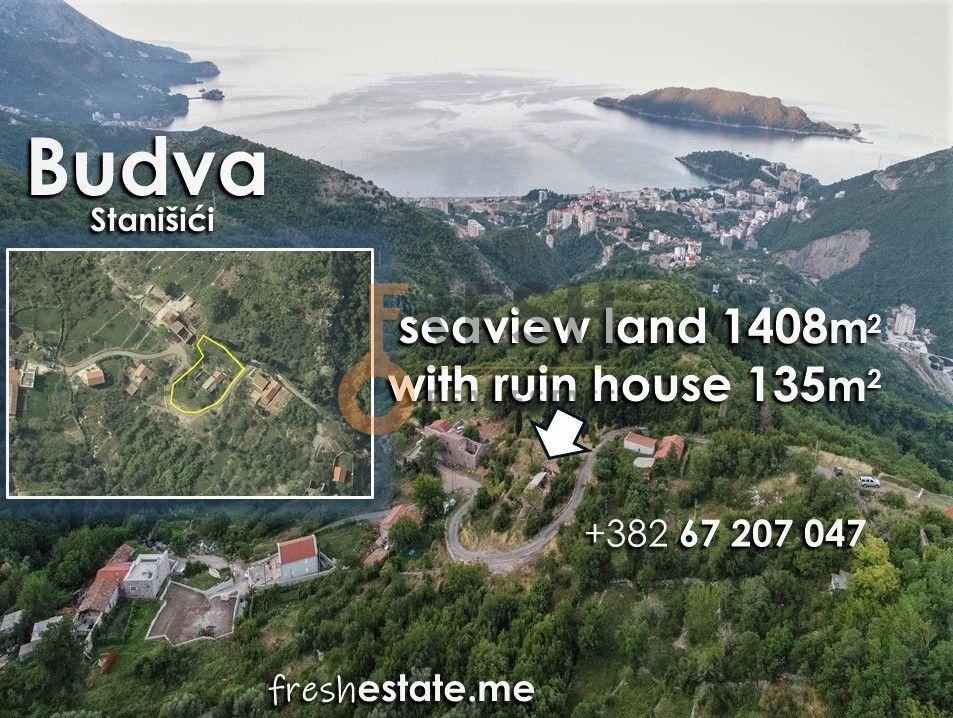 Kuća-ruševina 135m2 s pogledom na more, Stanišići, Budva - 1