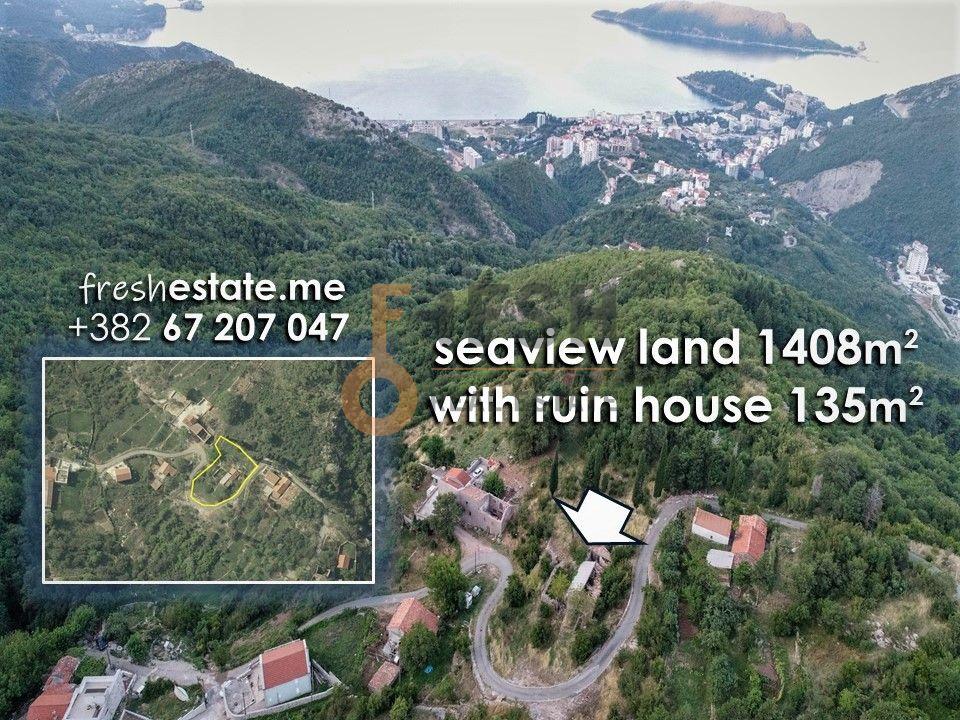 Plac 1408m2 za vilu s pogledom na more, Stanišići -Budva - 1