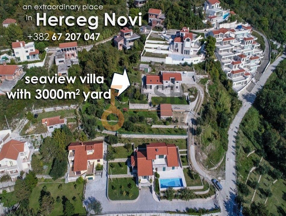 Vila 300m2 sa 3000m2 dvorišta, vrhunski pogled na more, Herceg Novi - 1