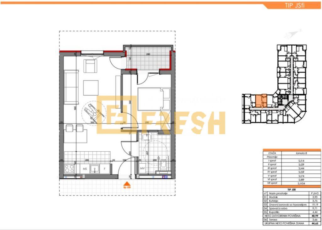 Jednosoban stan, 46m2, Zabjelo, Prodaja - 9