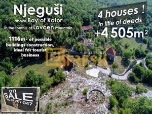 Njeguši, na putu Kotor - Cetinje, 4 upisana objekta + plac 4505m2 - 1