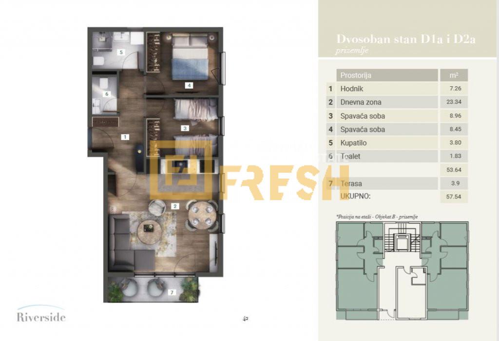 Dvosoban stan, 58m2, Riverside, Prodaja - 2