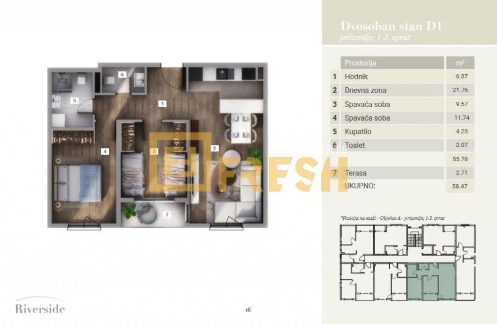 Dvosoban stan, 58.47m2, Riverside, Prodaja - 9