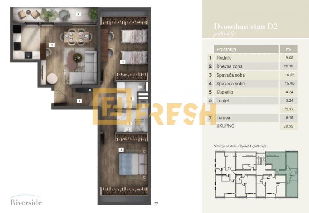 Dvosoban stan, 79m2, Riverside, Prodaja - 2