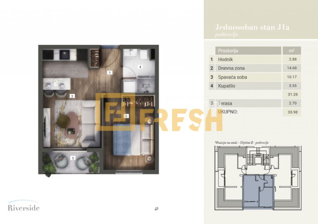 Jednosoban stan, 33.98m2, Riverside, Prodaja - 7