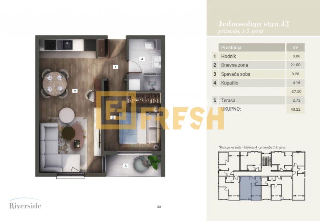 Jednosoban stan, 40.22m2, Riverside, Prodaja - 8