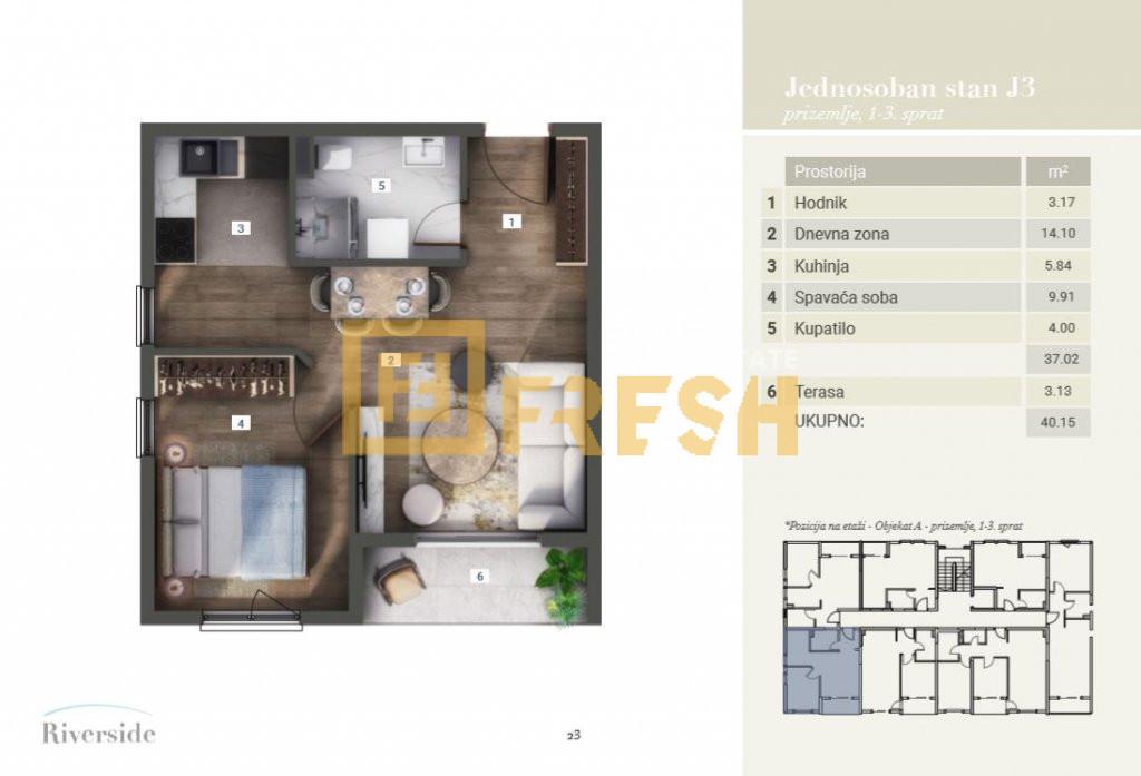 Jednosoban stan, 40.15m2, Riverside, Prodaja - 8