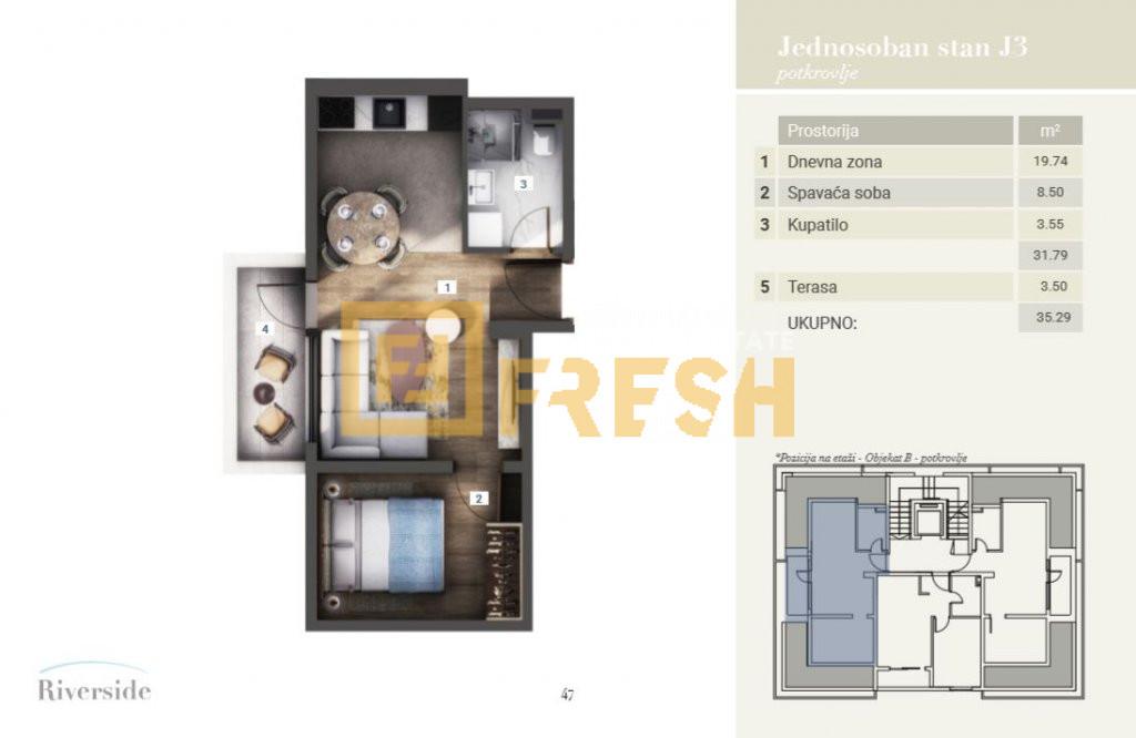 Jednosoban stan, 41m2, Riverside, Prodaja - 2
