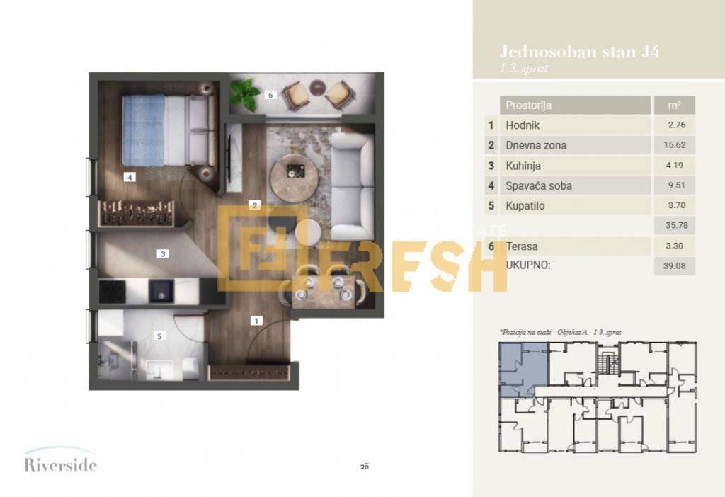Jednosoban stan, 39.08m2, Riverside, Prodaja - 2