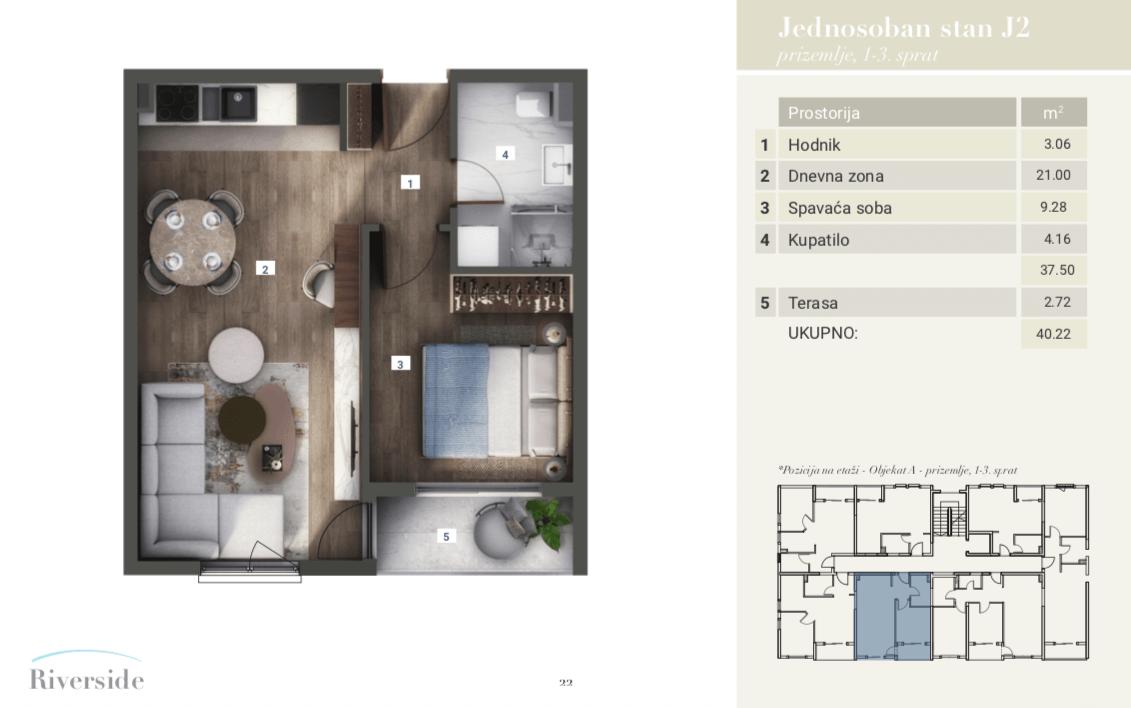 Primjer jednosobnog stana Riverside u Podgorici