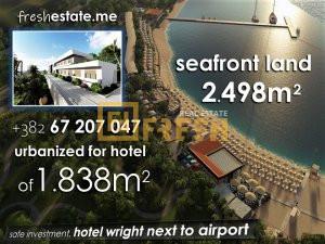 Obala mora, zemljište 2498m2 za hotel, Tivat - 1