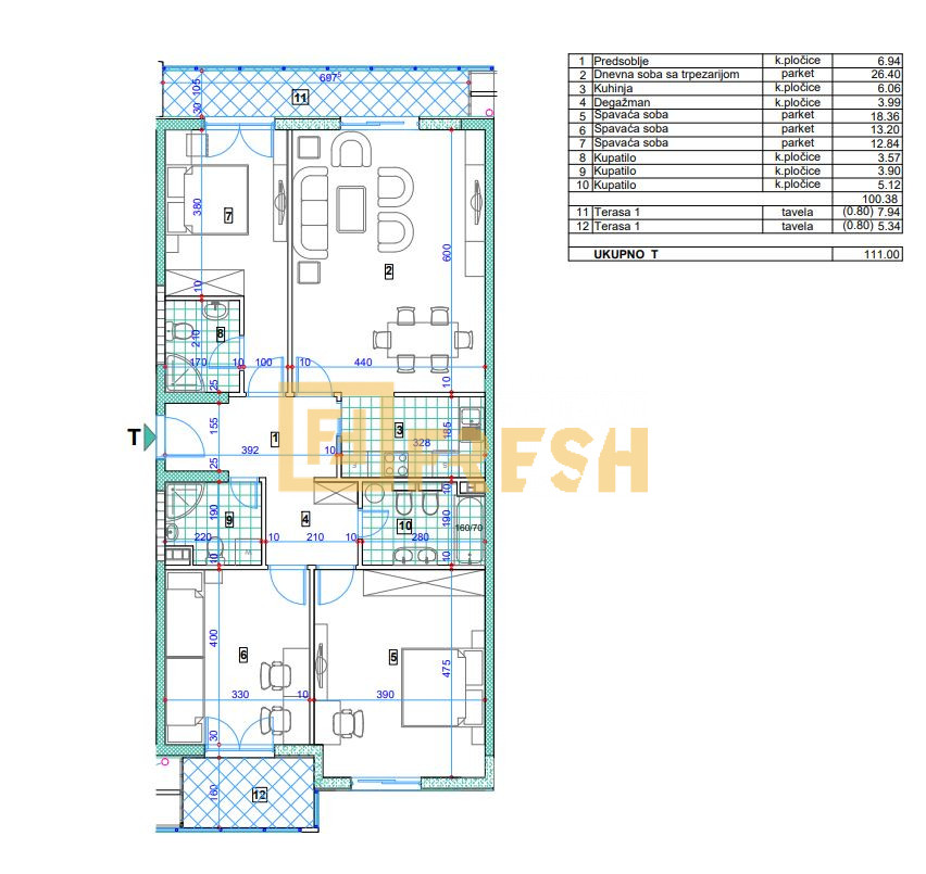 Trosoban stan, 111m2, City kvart, Prodaja - 1