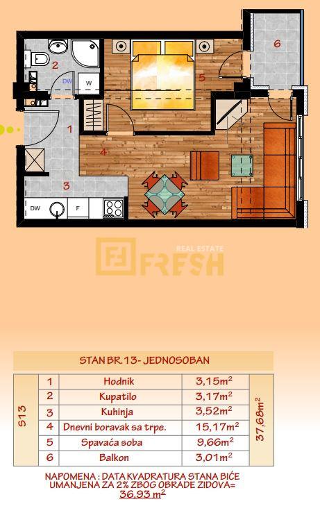 Jednosoban stan, 37m2, Tivat, Prodaja - 8