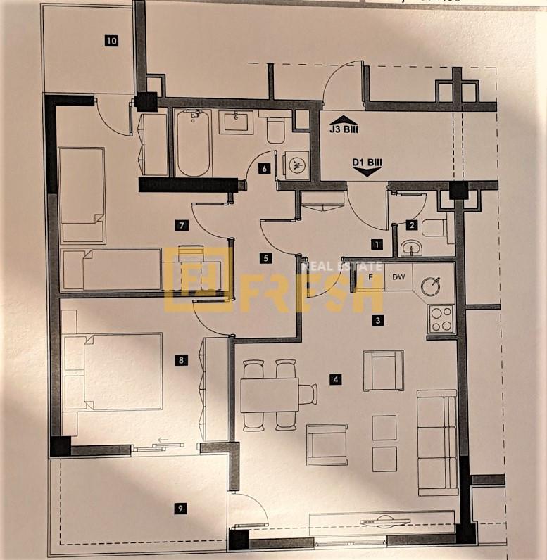 Dvosoban stan, 68m2, Zabjelo, Prodaja - 2